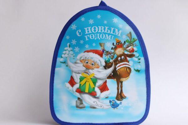 Новогодний детский рюкзак Дед Мороз и олени